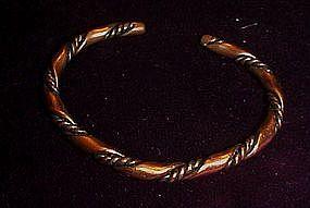 Vintage solid copper twist clamp bracelet