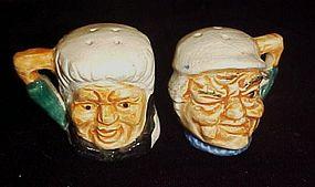 Vintage miniature toby head salt and pepper shakers