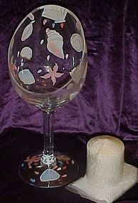 Hand painted seashells tall glass candle holder