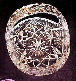 Cut  polished lead crystal  oval basket