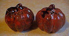 Orange and brown marbled glaze pumpkin shakers
