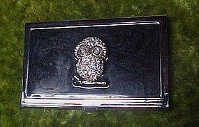 Shiny silvertone business card case with rhinestone owl