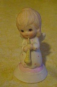 Lefton bisque Angel with flute horn figurine 03426