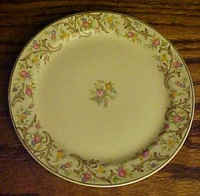 Taylor SmithTaylor bread plate floral center tan scroll