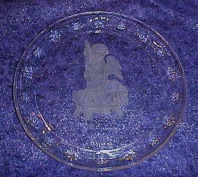 Crystal Hummel Christmas Angel plate 1996 Avon