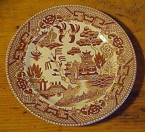 """Vintage brown willow transferware bread plate JAPAN 6"""""""