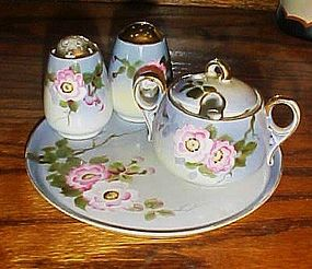Hand painted floral Nippon Condiment set with tray