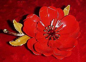 Beautiful vintage Coro red enamel flower pin