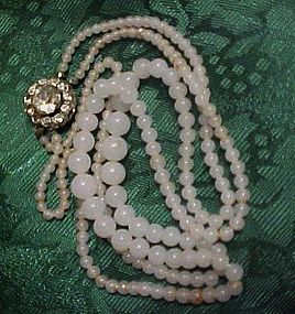Vintage milky glass beads with rhinestone fastner