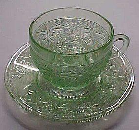 Tiara chantilly green sandwich glass cup and saucer