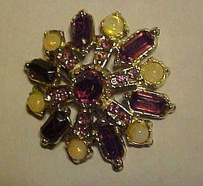Vintage snowflake pin with amethyst rhinestones