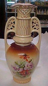 Large antique Austria marked floral pattern vase