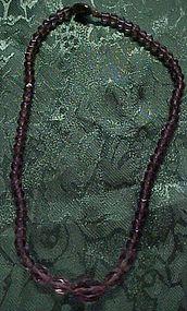 Antique Czechoslovakia purple glass beads necklace