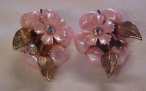 Vintage pink button cluster clip earrings w rhinestones