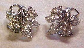 NICE vintage silver tone rhinestone clip earrings