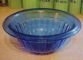 "Hazel Atlas cobalt blue ribbed mixing bowl 9 1/2"""