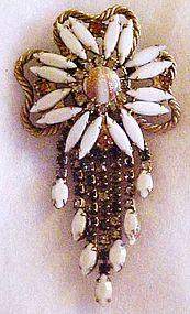 Large vintage white rhinestone pin w/ cascading stones