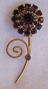 Vintage purple amethyst rhinestone flower pin