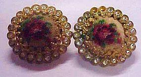 Austria rose needlepoint & rhinestone clip earrings