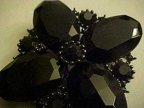 Large black faux onyx stone pin