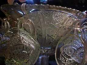 Vintage Indiana Glass pressed punch bowl set 16 cups