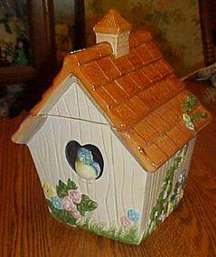 Bluebird's cottage  ceramic cookie jar