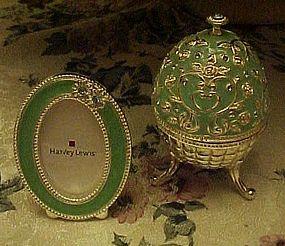 Turquoise enamel egg trinket box with matching frame