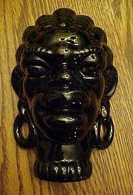 Vintage African Native black glazed pottery head