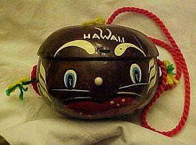 Vintage coconut souvenir purse black face native