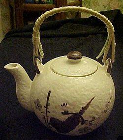 Vintage ceramic Japanese  floral teapot bamboo handle
