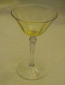 Fostoria topaz optic bowl clear stem wine glass 5099