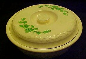 HLC Oven Serve Ivory covered casserole  green flowers