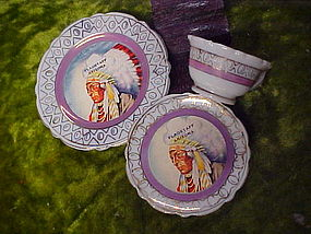 Old souvenir Indian Chief mini cup saucer and plate set