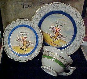 Old souvenir Cowboy mini plate cup and saucer set