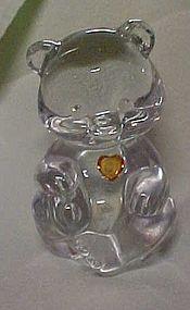 Fenton crystal birthstone bear November topaz heart