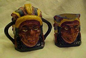 Vintage American Indian Chief creamer and sugar set