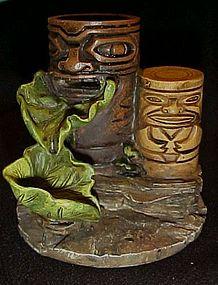 Tiki totem fish tank fountain figurine