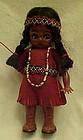 Vintage Carlson Indian girl doll  beads googly eyes