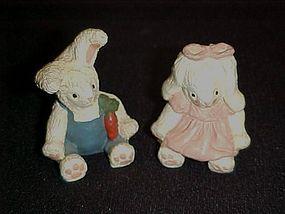 Pair of little bunny rabbit figurines