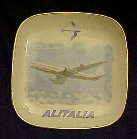 Verbano DC8 Jetliner souvenir ashtray Alitalia Airlines