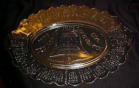 Large Liberty Bell Bicentennial glass platter A.H.R.C.