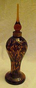 Tortoise shell art glass perfume bottle