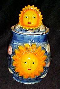 Hand painted celestial sun ceramic tea cannister