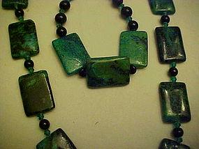 Chunky Malachite necklace and bracelet set