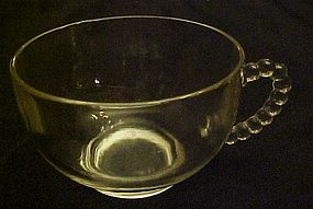Clear glass punch or snack cup with beaded handle