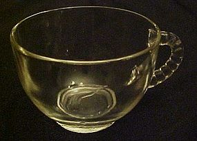 Vintage crystal clear punch cup with beaded handle