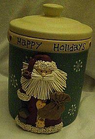 Happy Holidays Santa Claus air tight ceramic cookie jar