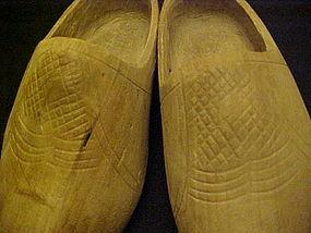 Vintage Childrens Dutch clogs wooden shoes, carved