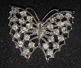 Pretty vintage  crystal rhinstone butterfly pin