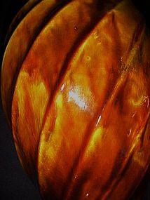 Large 9.5  vintage USA browl drip glaze swirl  vase